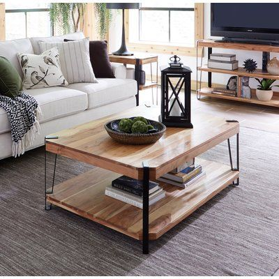 Union Rustic Tindal Coffee Table With Storage Wayfair In 2020 Coffee Table Live Edge Coffee Table Cube Coffee Table