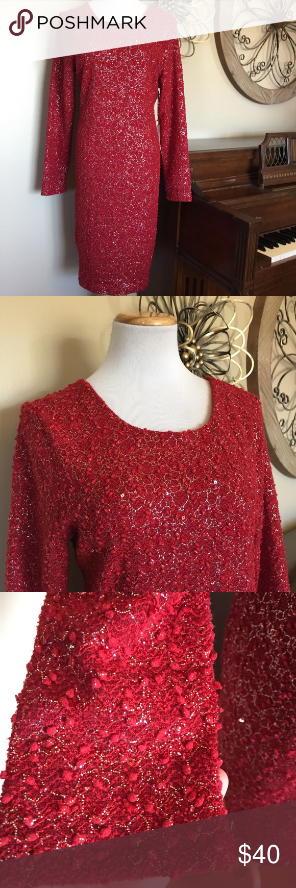 Nwt jlo size xxl red long sleeve dress nwt sleeved dress jennifer
