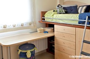 Cama alta con armario debajo y escritorio a medida en - Camas altas con armario debajo ...