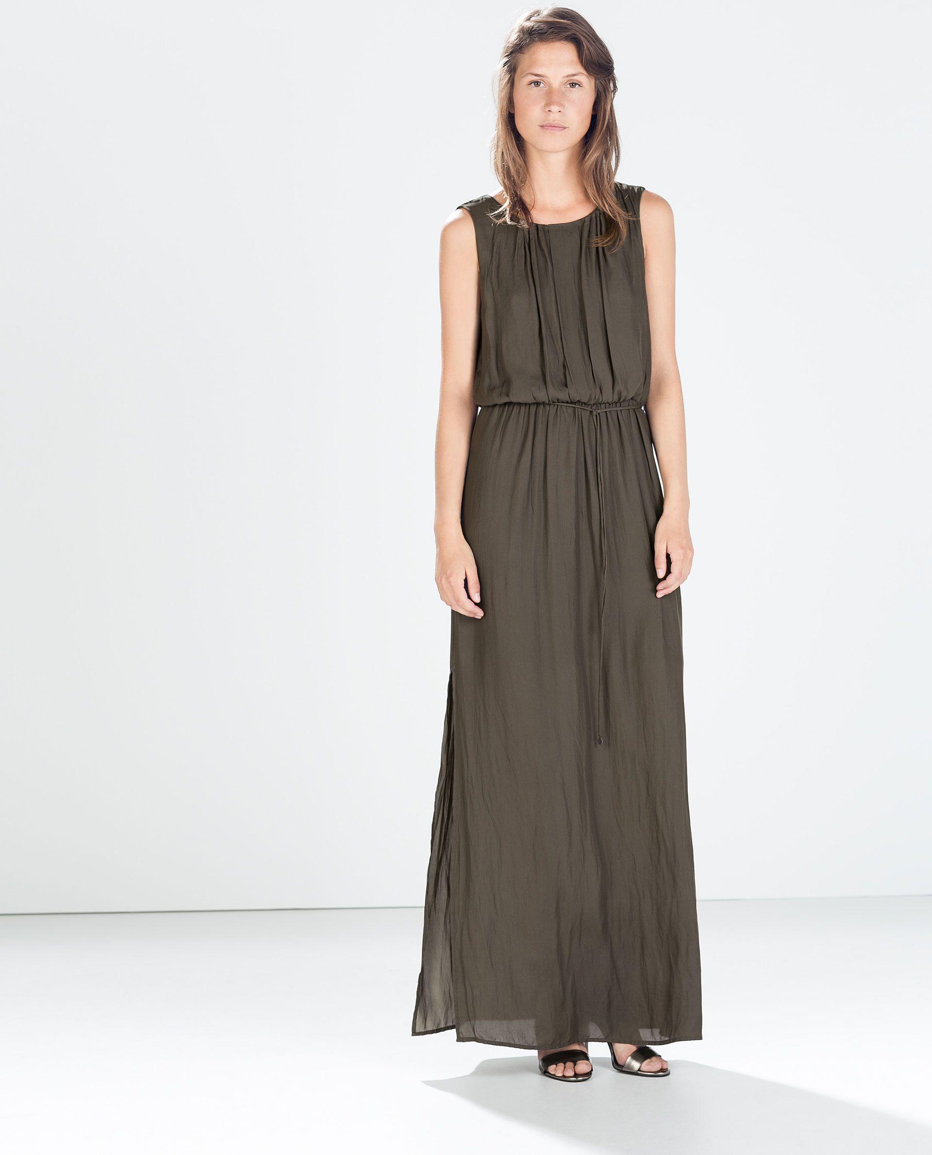 Pleated low cut maxi dress 7999 httpzarausenwoman vestido largo gasa zara bomber dress up ispan ombrellifo Image collections