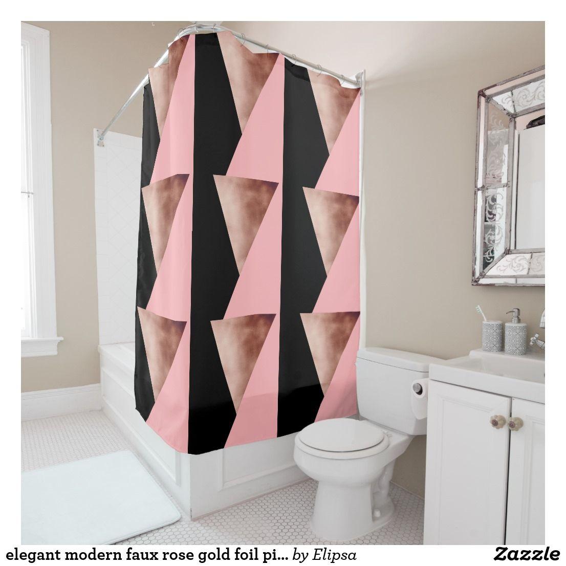 Elegant Modern Geometric Rose Gold Pink Black Shower Curtain