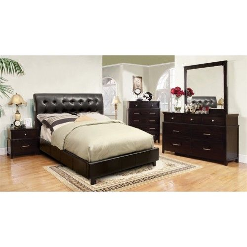 Contemporary Whiskey White Finish 1pc Full Size Bed For: Furniture Of America Junnie 4 Piece Queen Bedroom Set In