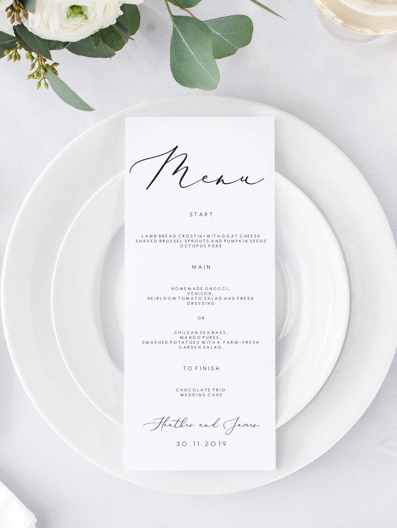 Wedding Menu Cards, Printable Menu Cards for wedding, Instant Download, Editable Menu template 110 #weddingmenutemplate