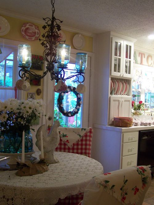 cottage mason jar chandelier. Love The White Cabinets, Yellow Walls, Red Accents And Mason Jar Chandelier Ü ~ Cottage B