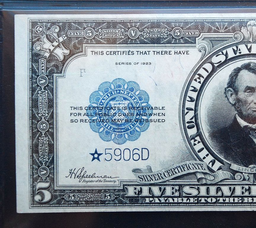 1923 STAR Rare 5 Porthole Silver certificate Lincoln Bank note PMG ...