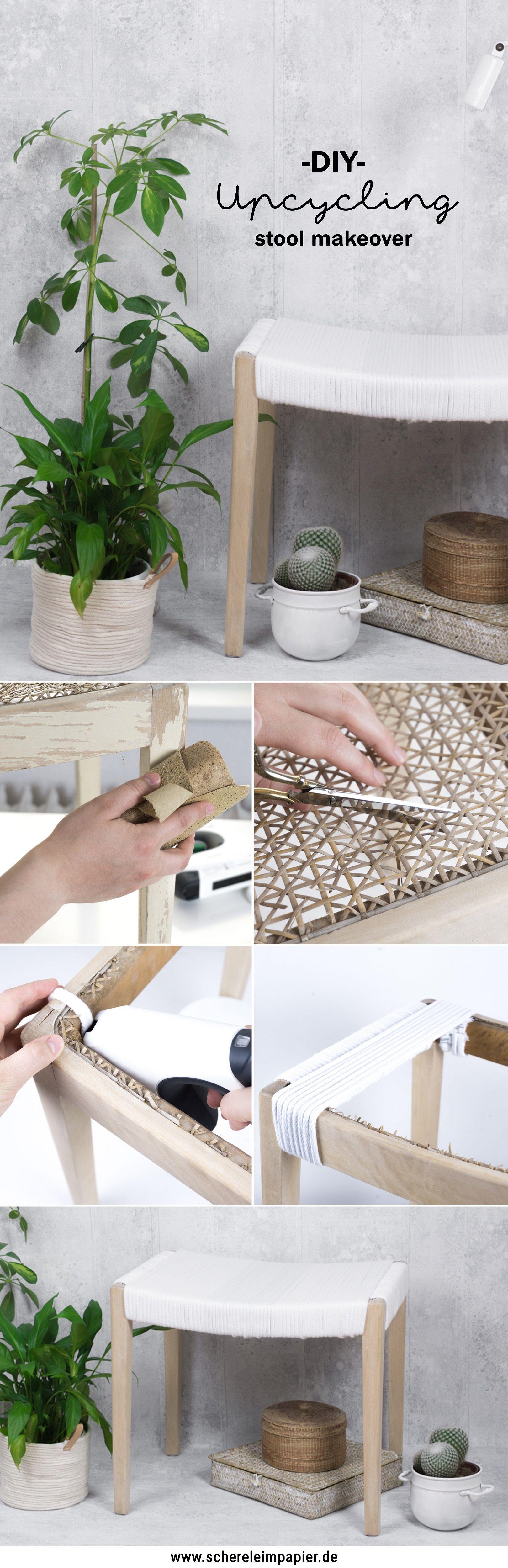 upcycling m bel so l sst sich ein hocker aufarbeiten craft pinterest. Black Bedroom Furniture Sets. Home Design Ideas