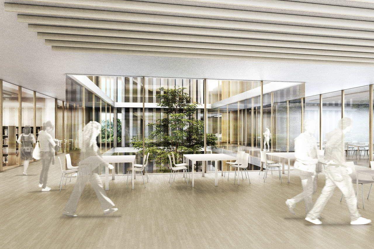 Vintage Preis beim Wettbewerb Neubau Staudinger Gesamtschule Freiburg Innenraumperspektive Visualisierung von LINKD