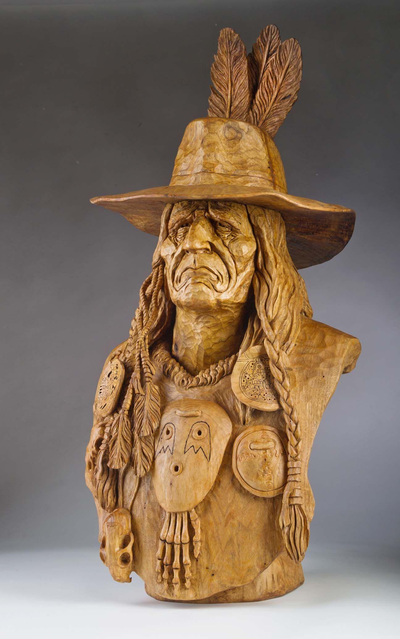 Quot skin walker carved by vic hood wood carvings