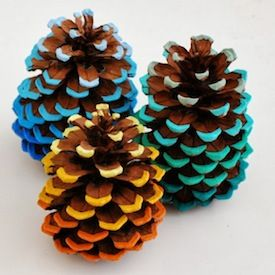Add a pop of color to some pinecones! I love how you still see the original brown. Christmas ornaments.
