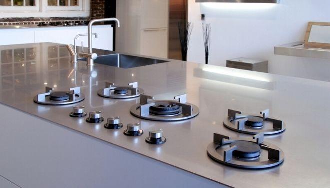 Encimera de acero con fogones Cocinas modernas Pinterest