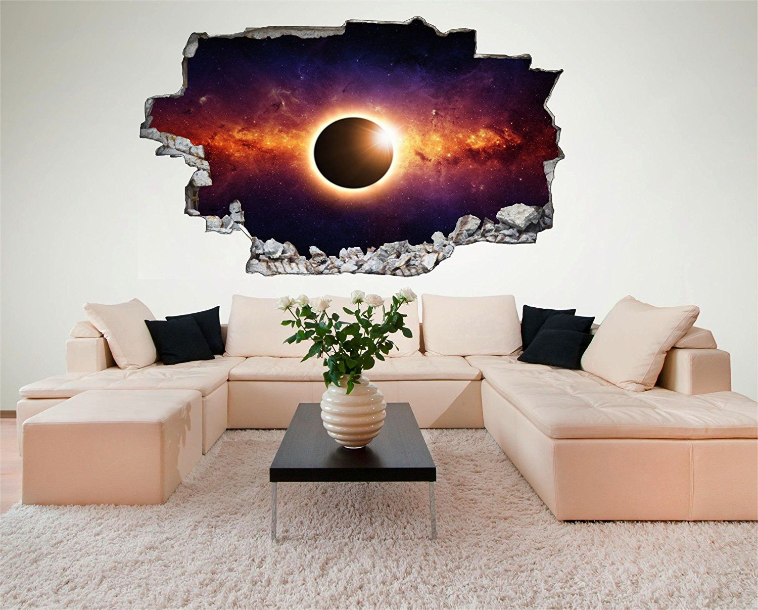 cooles wandtattoo mit 3d effekt weltraum kinderzimmer sonne weltraum erde space weltall. Black Bedroom Furniture Sets. Home Design Ideas