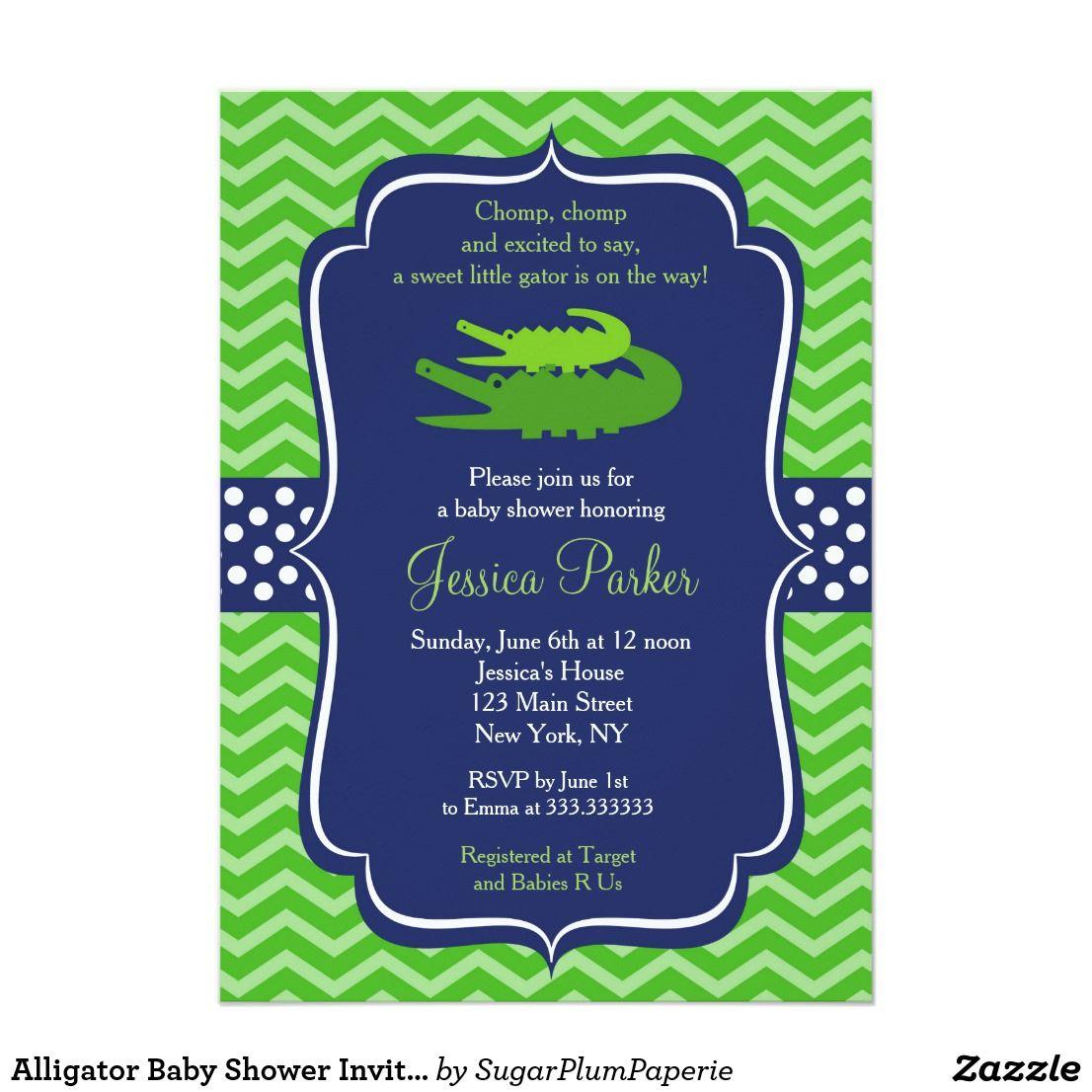 Alligator Baby Shower Invitations | Alligator baby showers and ...