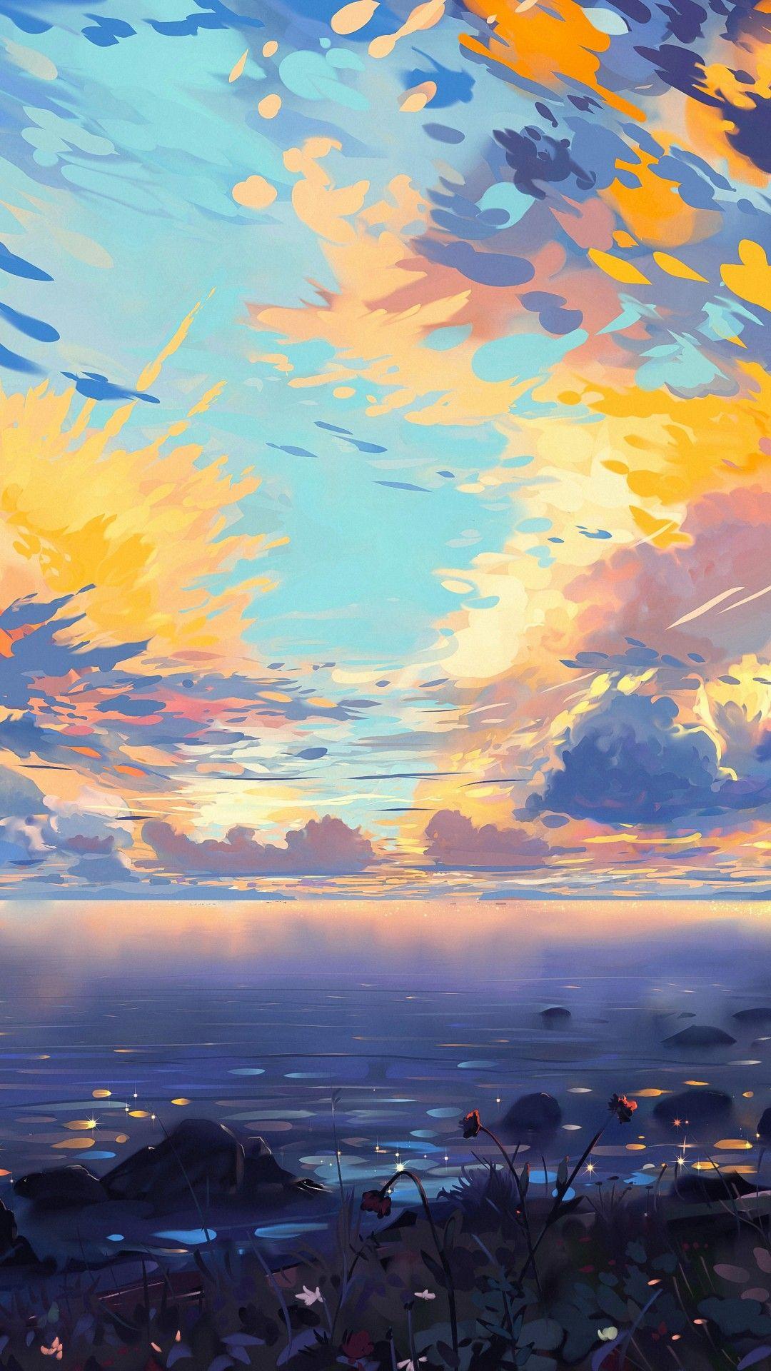 Anime Landscape Sea Ships Colorful Clouds Scenic Tree Horizon Scenery Wallpaper Landscape Wallpaper Anime Scenery Wallpaper Anime scenery wallpaper mobile