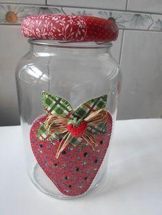 5e1c7d91d potes de vidro com tecido - Pesquisa Google
