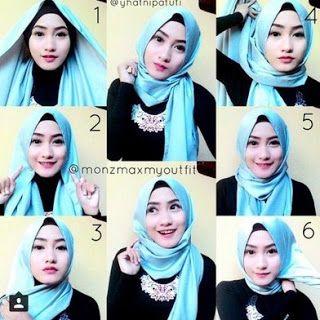gambar tutorial hijab segi empat partai untuk wanita