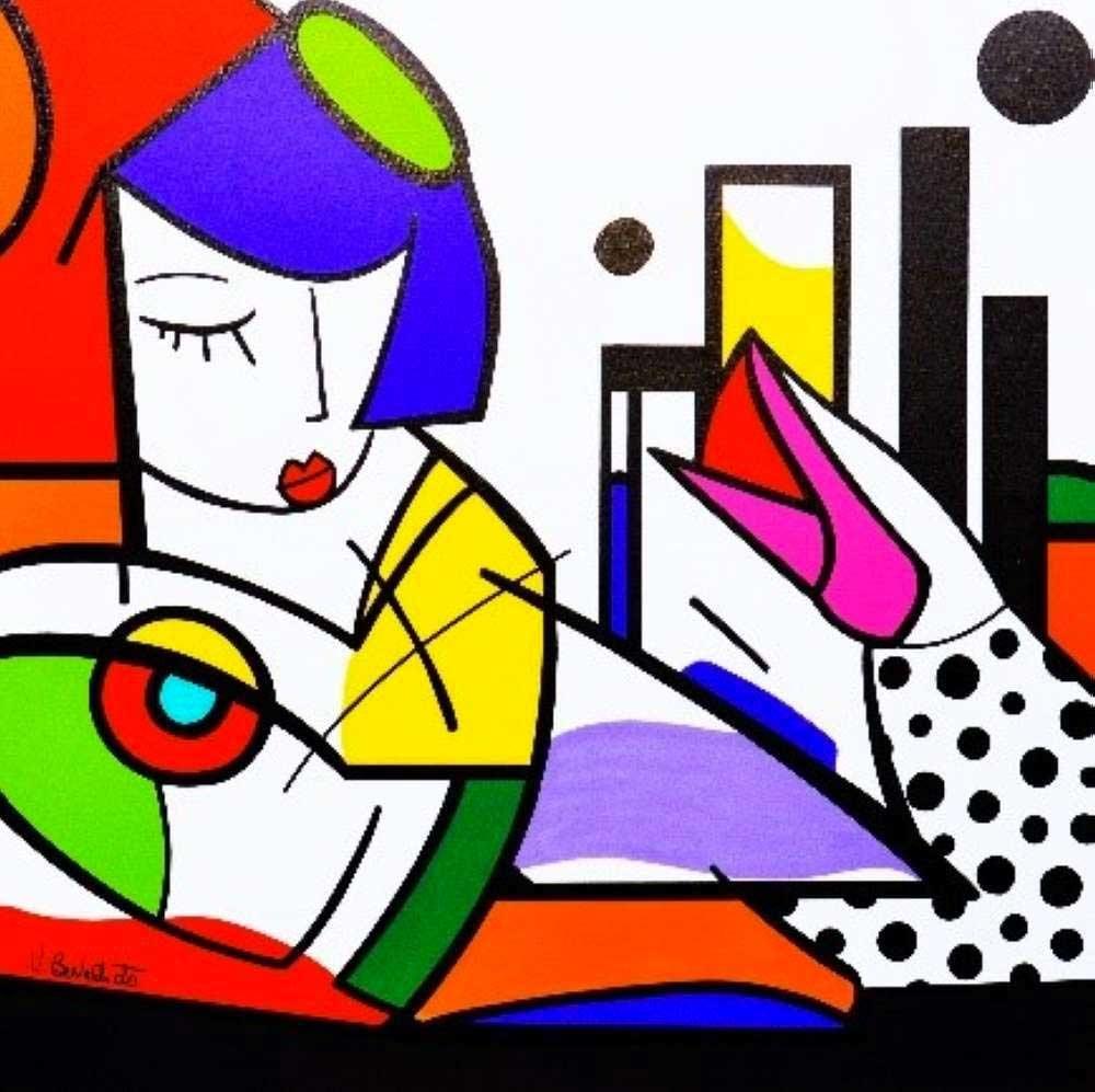 virginia benedicto living in usa acrylique sur toile. Black Bedroom Furniture Sets. Home Design Ideas