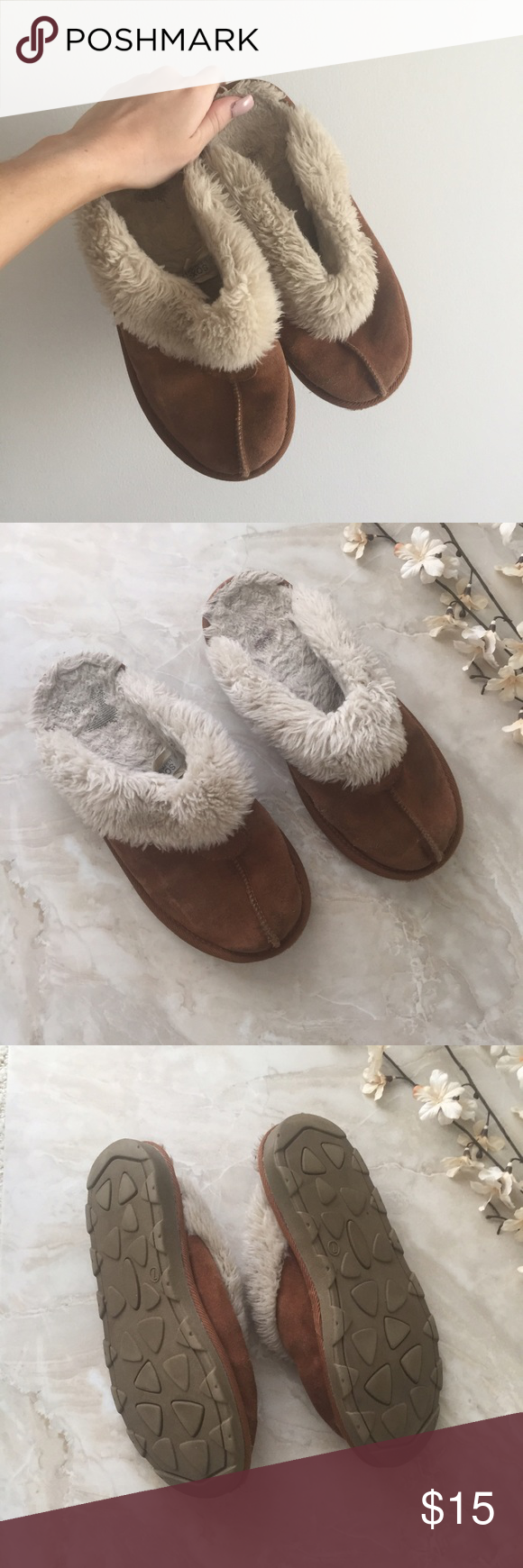 SOX-TAB Winter Slip Ons SOX-TAB Winter Slip Ons  * Gently used * Insoles worn  * Genuine suede & faux fur  * US women's 7 * Brown / Tan / Cream  Styling tip: Wear with tights & a skirt in the winter ❄️  Please, no trades, reasonable offers will be considered, & will ship within 1 business day ✨    8/16: uO40p15LO9-6m7 Sox-Tab Shoes Mules & Clogs