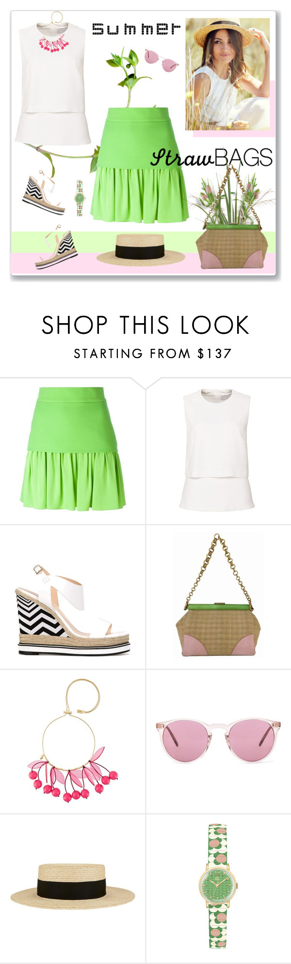 """""""Carry On: Straw Bags"""" by likepolyfashion ❤ liked on Polyvore featuring FAUSTO PUGLISI, Nicholas Kirkwood, Prada, P.A.R.O.S.H., Oliver Peoples, Eugenia Kim, Orla Kiely and strawbags"""