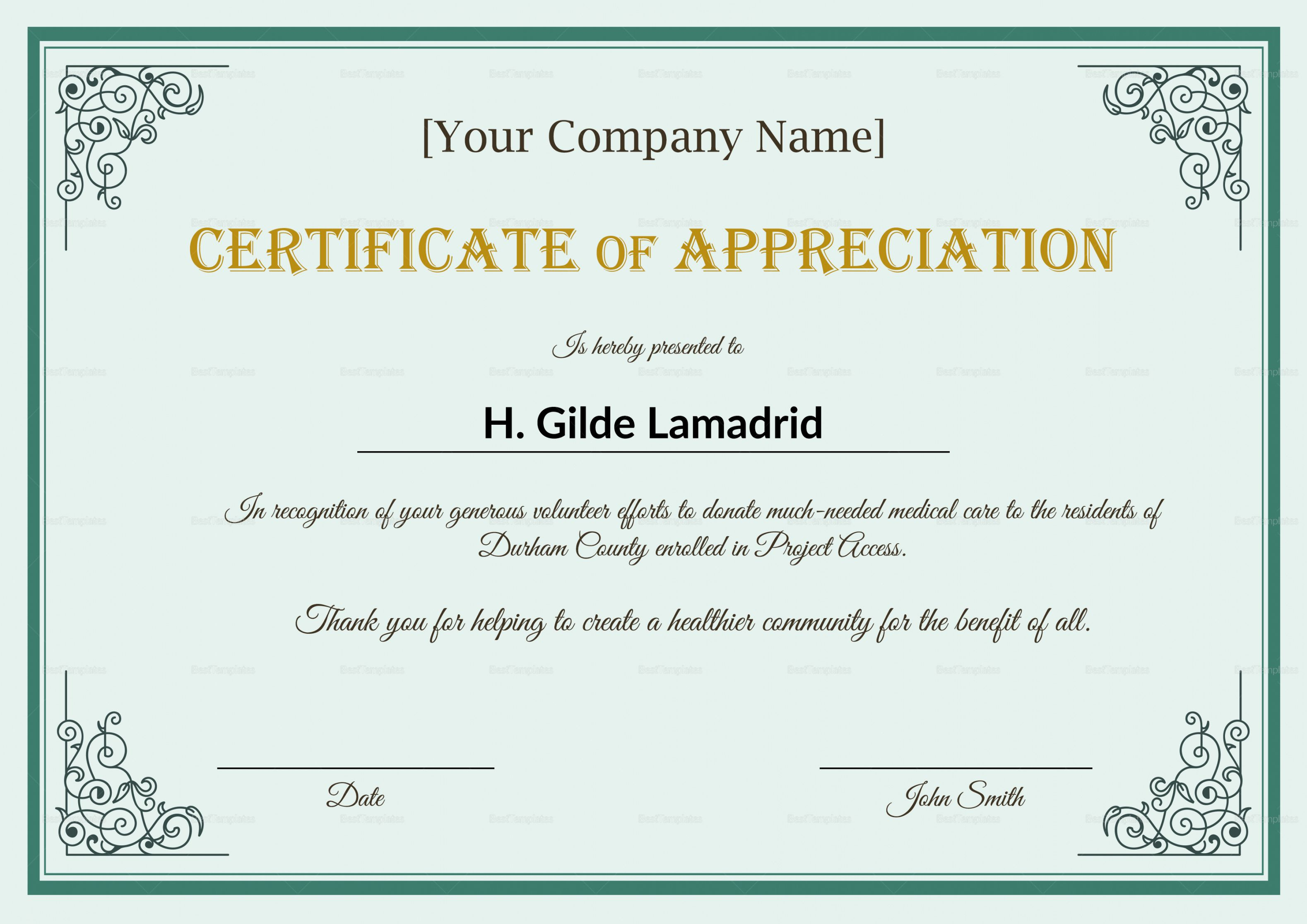 Get Our Free Employee Appreciation Certificate Template Certificate Of Recognition Template Certificate Of Appreciation Certificate Design Template