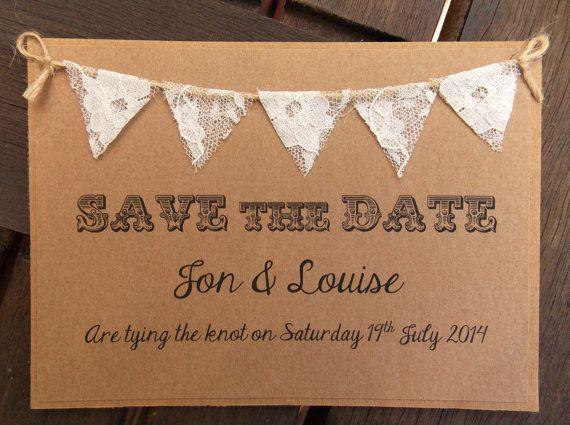 Sparen de Bunting van het Kant van het Datum Huwelijksuitnodiging door FromLeoniWithLove