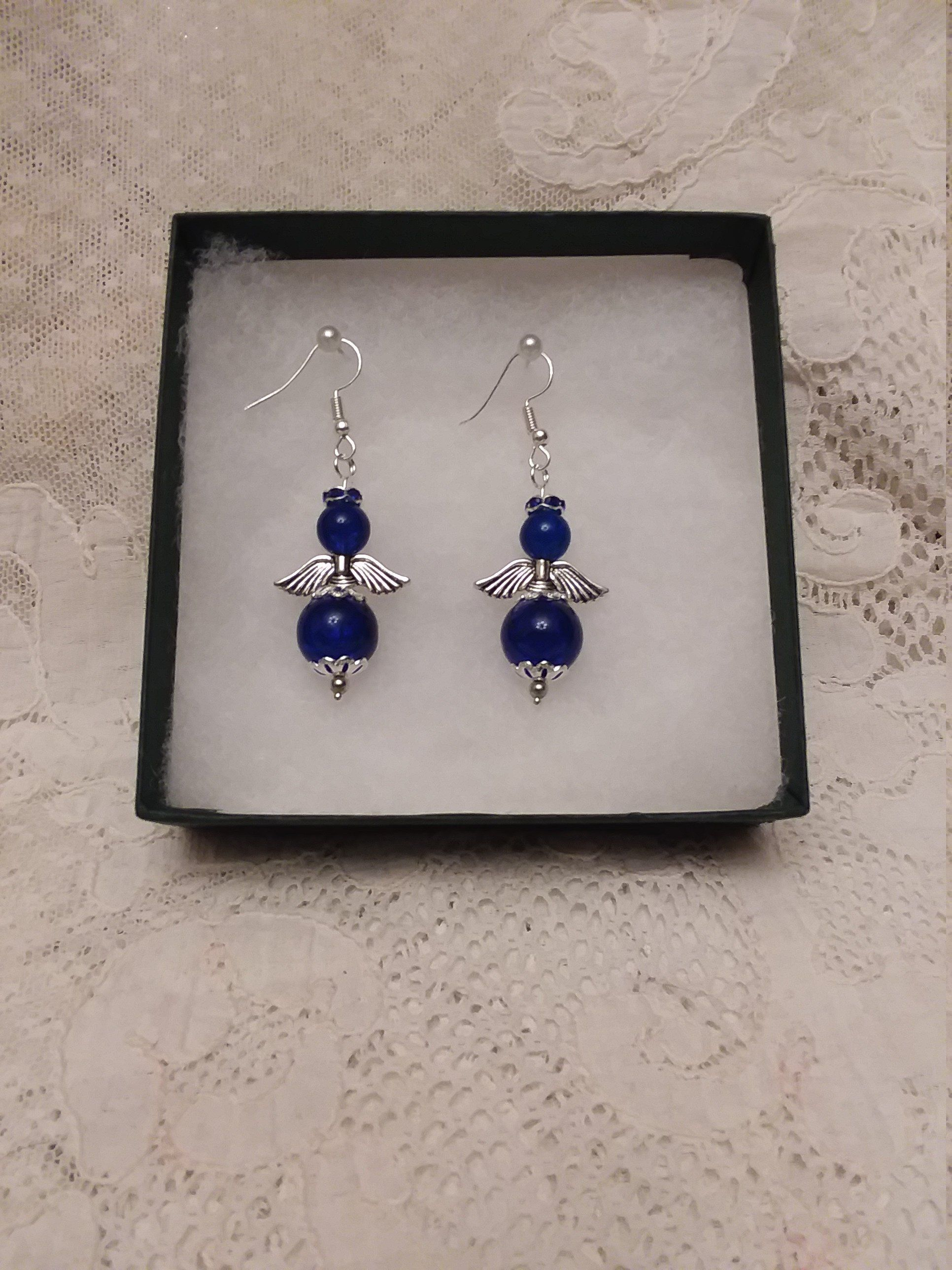 Unique Colbalt Blue Guardian Angel Earrings Handmade Gift Gift For