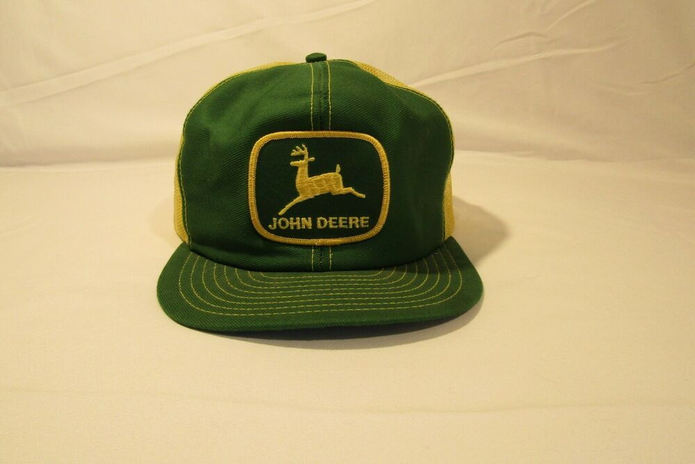 John Deere Black Fabric /& Mesh Hat Cap w Yellow /& Green Embroidery Vintage Logo