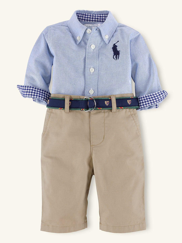 Cotton Oxford Pant Set Outfits Gift Sets Layette Boy Newborn