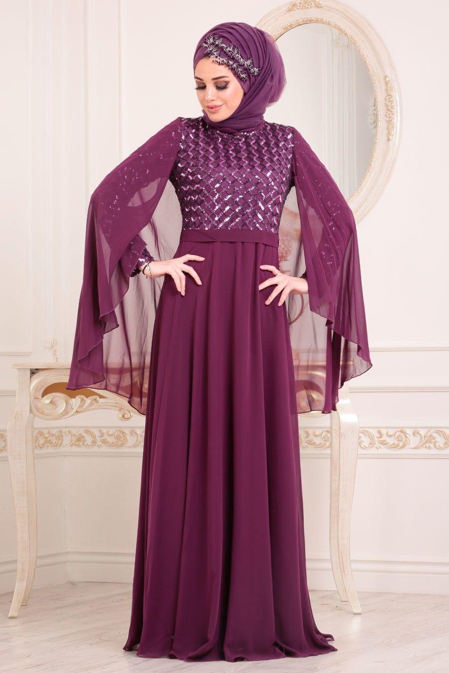 b4780c12e5ffa Tesettürlü Abiye Elbiseler - Pul Payetli Mürdüm Tesettür Abiye Elbise  3293MU ÜRÜN KODU : 3293MU