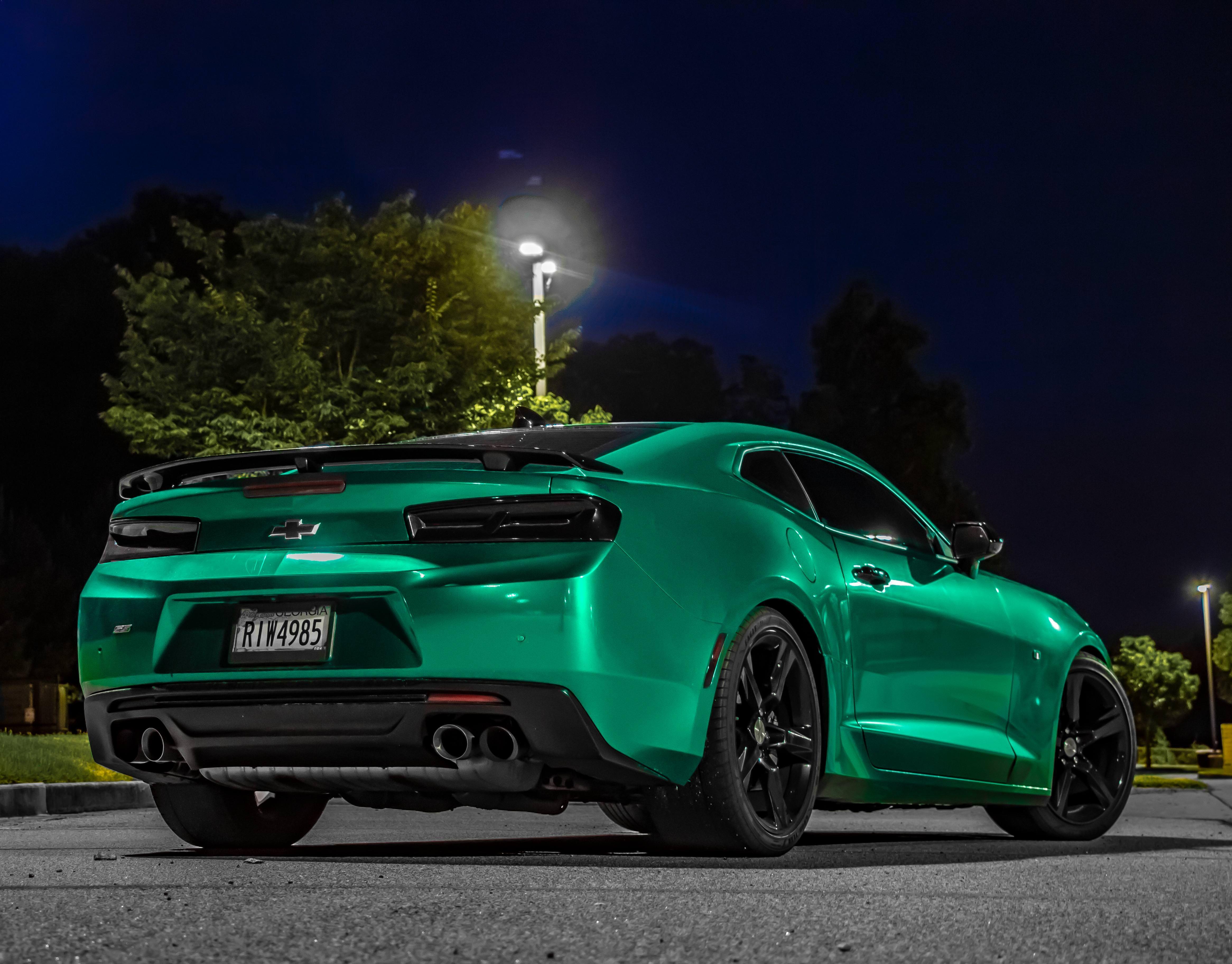 Green Aqua Wrapped Camaro At Night Camaro Camaro Car Sports Cars Luxury