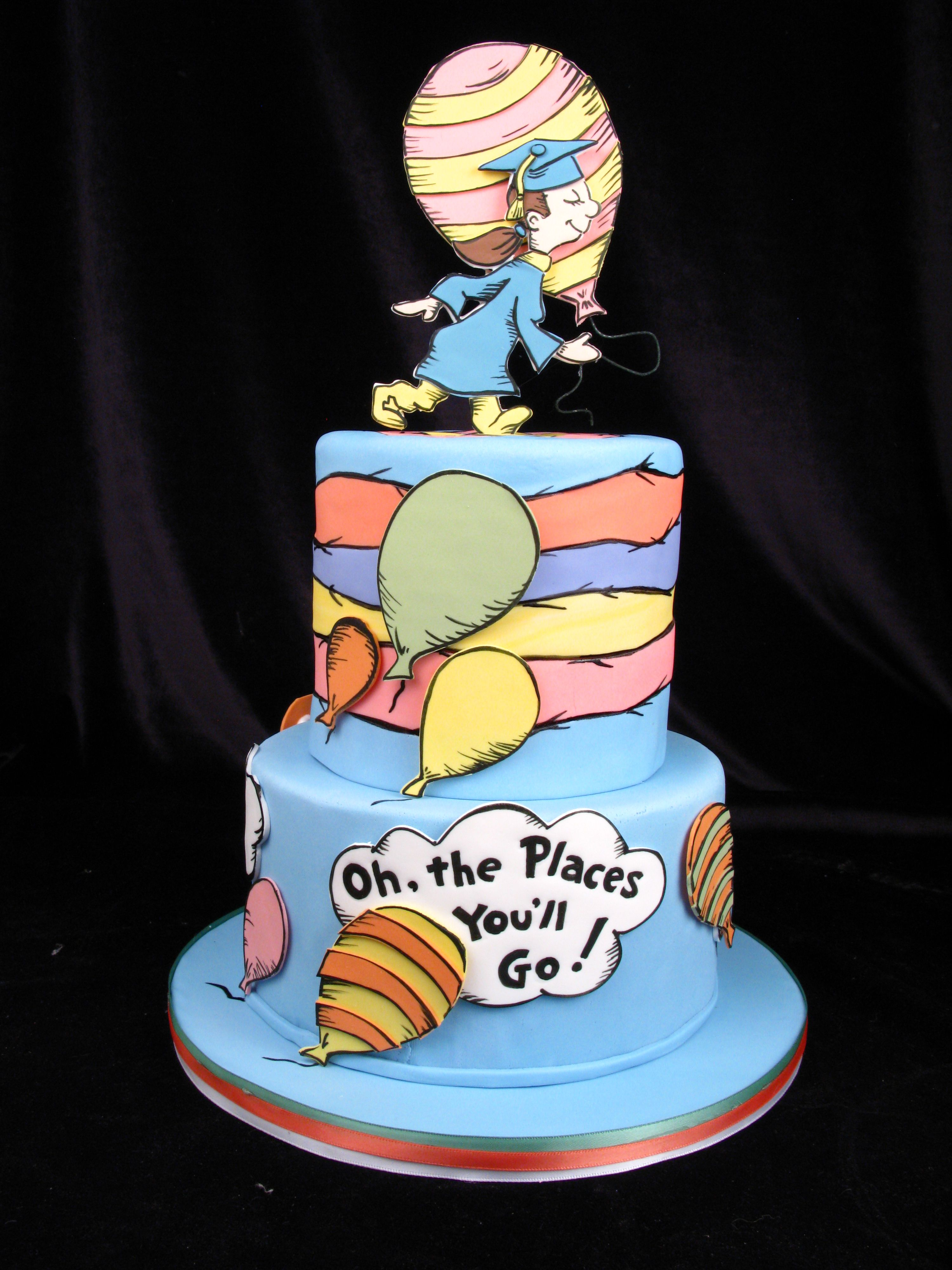 Cool Dr Seuss Graduation Cake Oh The Places Youll Go Fondant Cake Personalised Birthday Cards Veneteletsinfo