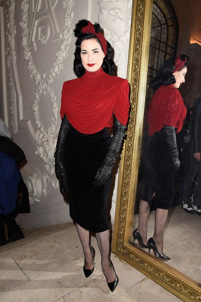 63d8d0b7c8e2 Dita Von Teese Turtleneck - Dita Von Teese layered a draped red turtleneck  top…