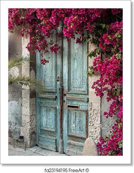 Old Wooden Door With Bougainvillea In Cyprus Paper Print Art Print From Freeart Com Old Wooden Doors Wall Backdrops Wooden Doors
