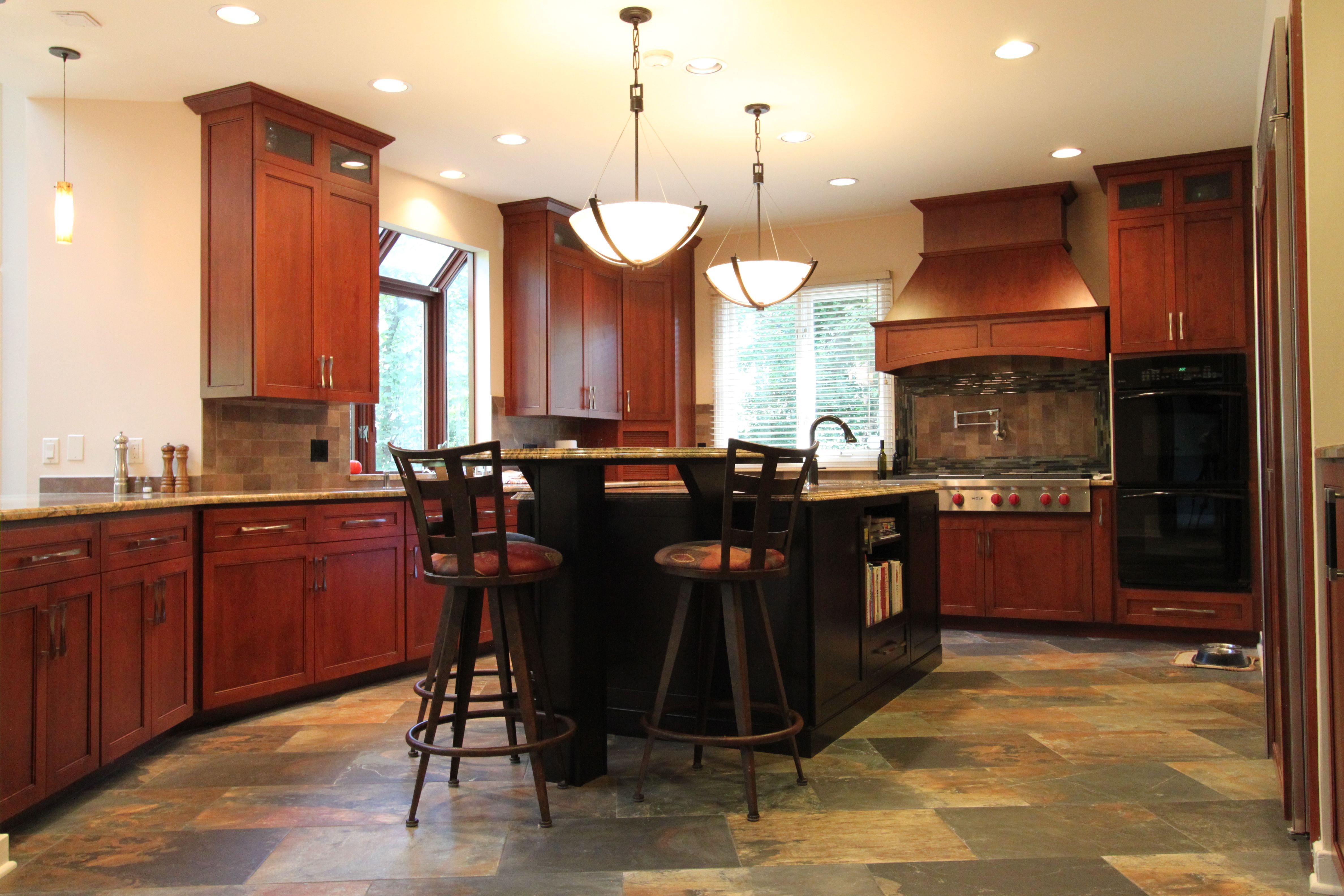 Rustic Craftsman Cherry Kitchen With Contrasting Espresso