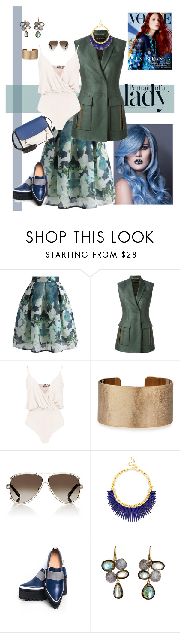 """Ladylike"" by scope-stilettos ❤ liked on Polyvore featuring Chicwish, Versace, Boohoo, Panacea, Chloé, Kenneth Jay Lane, Jamie Wei Huang, Judy Geib, DKNY and Inez & Vinoodh"
