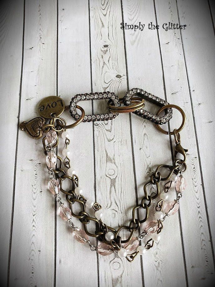 Brass Rhinestone Connector Assemblage Bracelet, Rosary Beads, Hearts, Gift for Her, Repurposed and Upcycled Jewelry by Simply the Glitter
