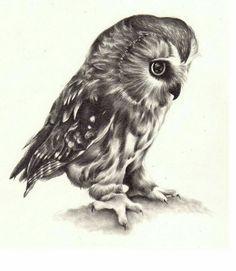 47b425a3ddd25 Black Ink Small Owl Tattoo Design | Small Tattoos | Realistic owl ...