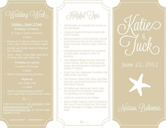 Wedding Welcome Brochure  Just Take Out The Star And Center The