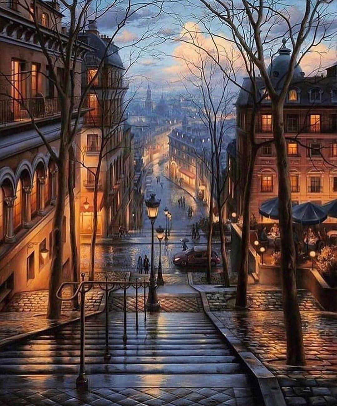 Обои eugeny lushpin, street, port, landscape, evening, painting, lushpin, An evening journey. Города foto 19
