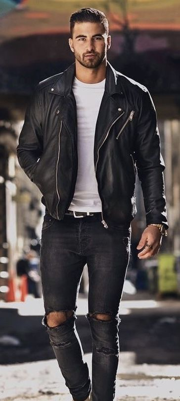 Minimal Black And White Combo With A White T Shirt Black Leather Jacket Black Leather Belt Leather Jacket Outfit Men Casual Leather Jacket Mens Casual Outfits