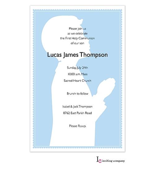 First Communion Party Invitations praying boy blue – Communion Party Invitations