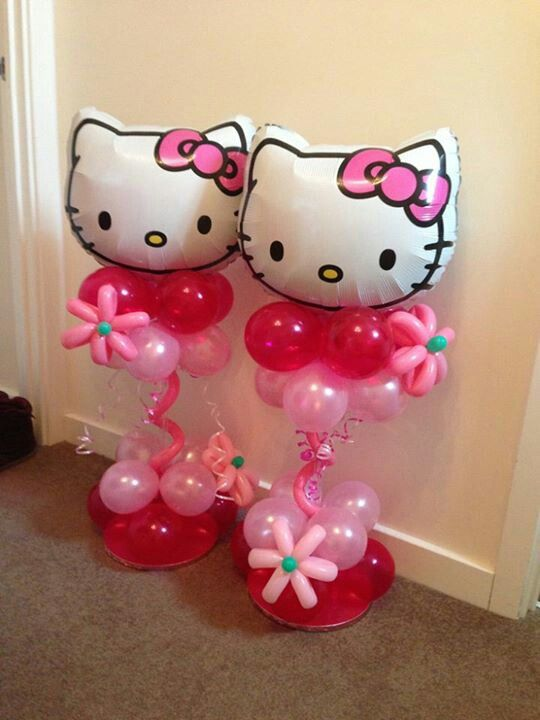Hello kitty en 2019 decoraci n con globos globos y - Decoration hello kitty chambre bebe ...