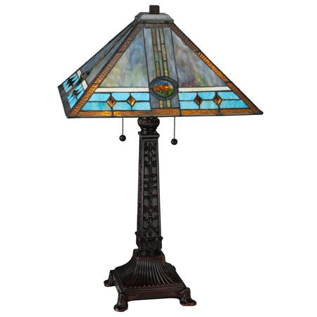 Craftsman Lamp With Blue And Turquoise Art Glass With Glass Jewels Table Lamp Lamp Bronze Table Lamp
