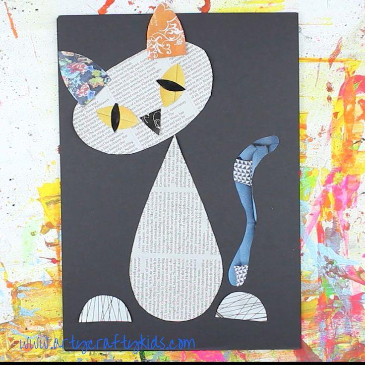 Cool Cat Newspaper Art for Kids