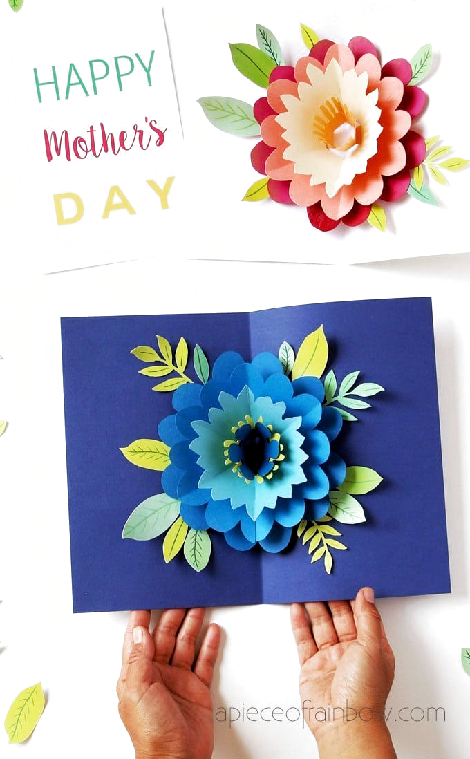 Easy Diy Happy Mothers Day Card With Beautiful Big Pop Up Flower Tutorial Video Free Printable Happy Mother S Day Card Mother S Day Diy Mothers Day Crafts