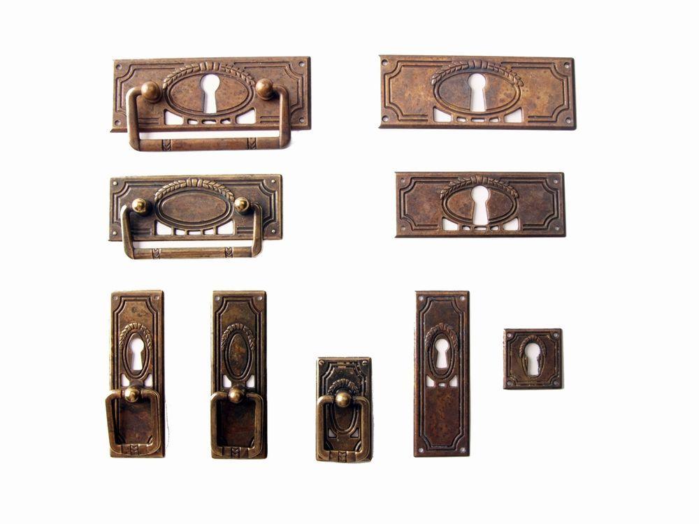 Details zu Antik Möbel Beschlag Griff Jugendstil Patina Ring ...