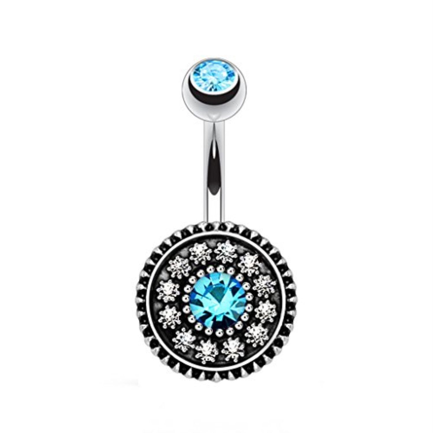 Belly without piercing  BodyJYou Belly Button Ring Aqua Blue Vintage Shield Gem Piercing