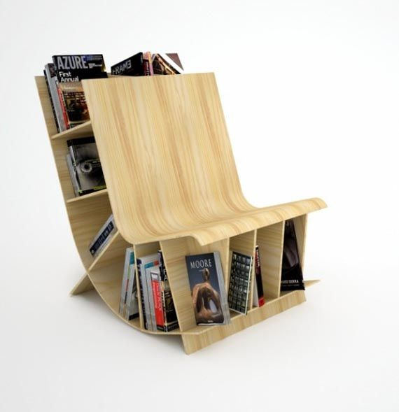 Curved Open Bookcase | Simple Curved Chair Design Combined With Bookcase    AzMyArch Home Design Ideas