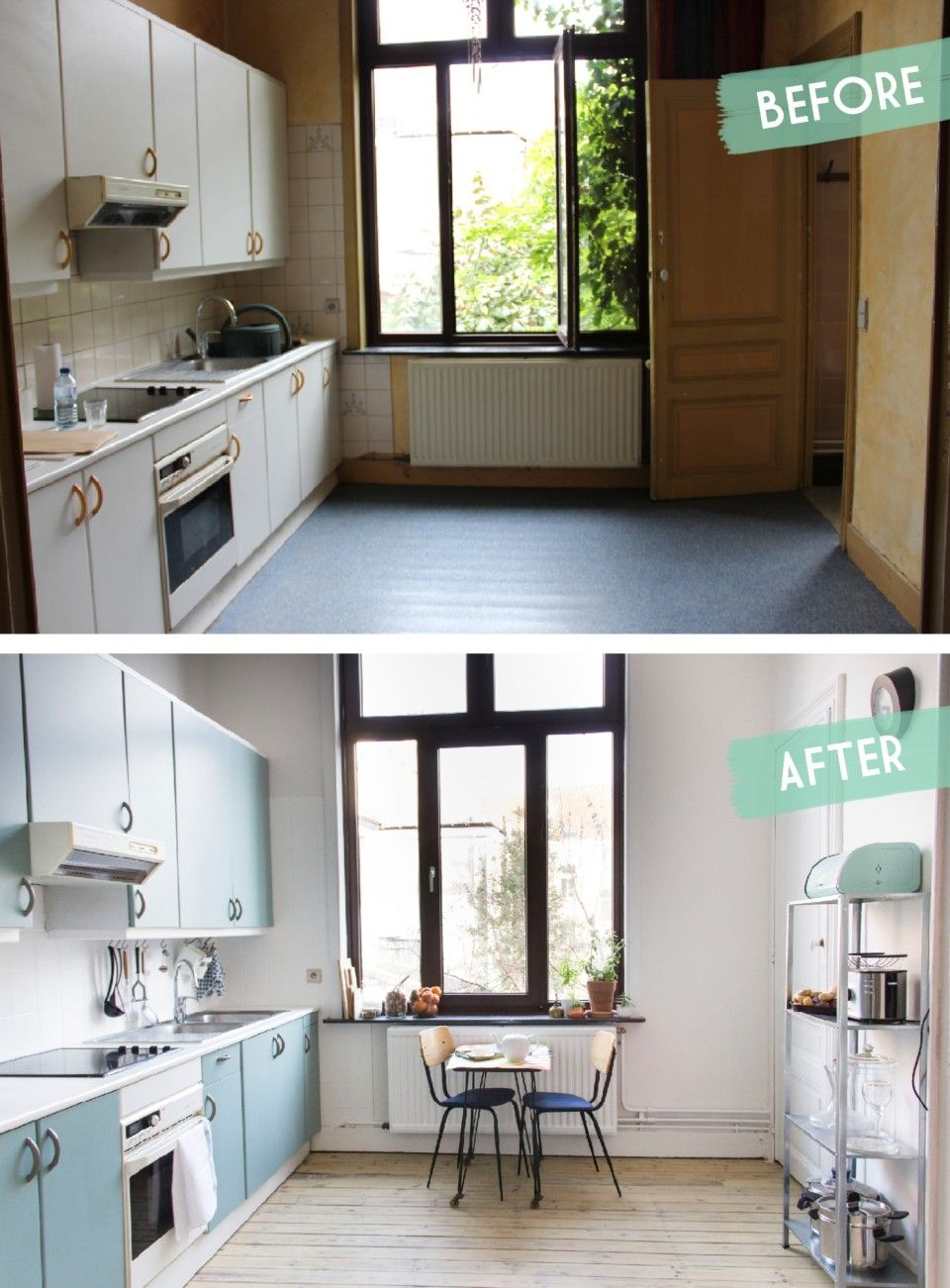 Kitchen makeover before after une cuisine avant - Cout d une cuisine ikea ...