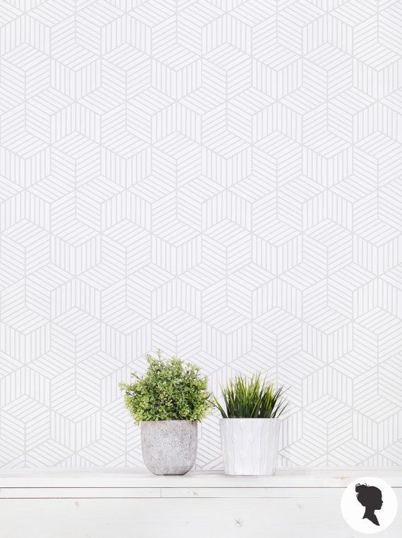 Cube Removable Wallpaper In Light Grey Color Available In Etsy Room Wallpaper Cube Pattern Removable Wallpaper