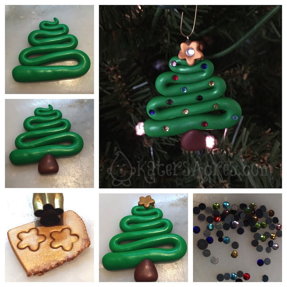 5 Days Of Ornaments Christmas Tree Polymer Clay Tutorial Polymer Clay Christmas Christmas Clay Clay Christmas Decorations